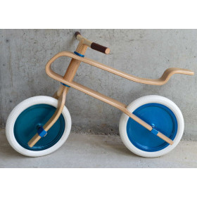 Balance Bike Pure White – Candy Blue – Walnut – Wooden Balance Bike for Children