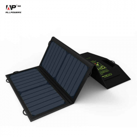 ALLPOWERS 18V 21W Solar Charger Panel Waterproof Foldable Solar Power Bank for 12v Battery Mobile Phone Outdoor Hiking
