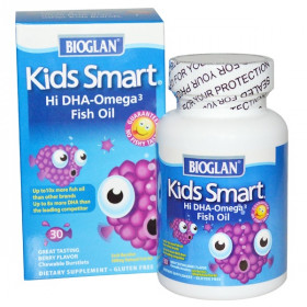 Kids Smart, Hi DHA-Omega 3 Fish Oil, Berry Flavor, 30 Chewable Burstlets