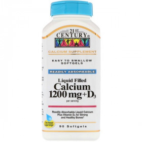 21st Century, Liquid Filled Calcium 1200 mg + D3, 90 Softgels