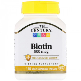 Biotin, 800 mcg, 110 Easy Swallow Tablets