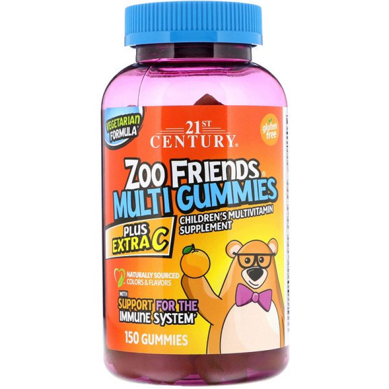 Zoo Friends Multi Gummies, Plus Extra C, 150 Gummies