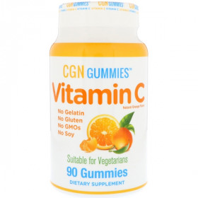 Vitamin C Gummies, Gluten-Free, Non GMO, No Gelatin, Natural Orange Flavor, 90 Gummies