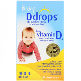 Baby, Liquid Vitamin D3, 400 IU, 0.08 fl oz (2.5 ml), 90 Drops