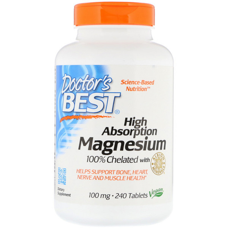 High Absorption Magnesium 100% Chelated with Albion Minerals, 100 mg, 240 Tablets