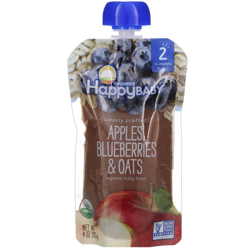 Happy Family Organics, Organic Baby Food, Stage 2, 6+ Months, Apples, Blueberries, & Oats, 4 oz (113 g)