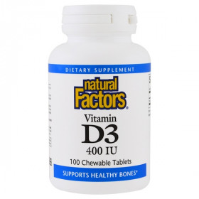 Vitamin D3, Strawberry Flavor, 400 IU, 100 Chewable Tablets