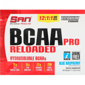 BCAA Pro Reloaded, Hydrosoluble BCAAs, Blue Raspberry, 0.4 oz (11.4 g)