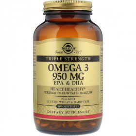 Omega-3, EPA & DHA, Triple Strength, 950 mg, 100 Softgels