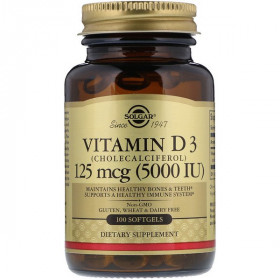 Vitamin D3, Cholecalciferol, 5,000 IU, 100 Softgels
