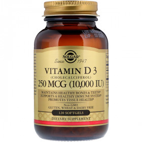 Vitamin D3 (Cholecalciferol), 250 mcg, 10,000 IU, 120 Softgels